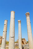 Column in old  temple and theatre in   the ruins Stock Photos