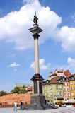 Column and old town2. Column and old town in Warsaw, Poland stock photos