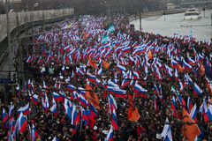Column of oppositionists on mourning march of memory of Boris Nemtsov Stock Photo