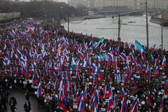 Column of oppositionists on mourning march of memory of Boris Nemtsov Royalty Free Stock Image