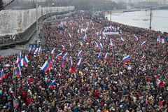 Column of oppositionists on mourning march of memory of Boris Nemtsov Stock Image