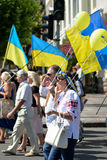 Column of pedestrians with Ukrainian flags. In Dnepropetrovsk, 23 August, celebrate Flag Day. All residents are located on street with yellow-blue flag of Stock Photos