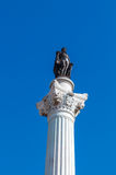 The Column of Pedro IV. Rossio Square. Royalty Free Stock Photo