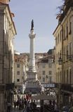 Column of Pedro IV in  Rossio Square in Lisbon Royalty Free Stock Image