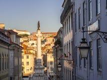 Column of Pedro IV on Rossio Square Pedro IV Square in Lisbon, Stock Photos