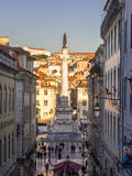 Column of Pedro IV on Rossio Square Pedro IV Square in Lisbon, Royalty Free Stock Images