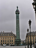 Column of Place Vendome. Atmospheric picture of Column and place Vendome Paris on a rainy day Royalty Free Stock Photography