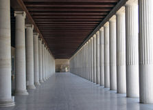 Column rhythm. Ancient greek stoa reconstruction - column arcade stock photo