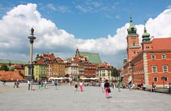 Column and Royal Castle in Warsaw, Poland Royalty Free Stock Images