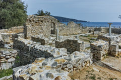 Column in Ruins of ancient church in Archaeological site of Aliki, Thassos island,  Greece. Column in Ruins of ancient church in Archaeological site of Aliki Royalty Free Stock Photo