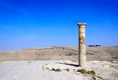 Ruins of King Herod`s fortified palace Machaeros, Jordan. Column and ruins of King Herod`s fortified palace Machaeros Mukawir. Here Herod Antipas ordered the stock photos