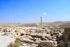 Ruins of King Herod`s fortified palace Machaeros, Jordan. Column and ruins of King Herod`s fortified palace Machaeros Mukawir. Here Herod Antipas ordered the stock images