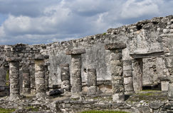 Column Ruins at Tulum Mexico stock image