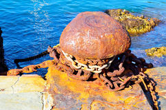 Column rusty mooring in the harbor Royalty Free Stock Photo