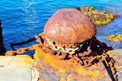 Column rusty mooring in the harbor Royalty Free Stock Photo
