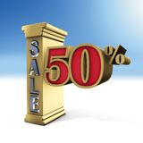 Column sale  and Fifty Percent. 3D rendering, column sale  and Fifty Percent Stock Image