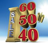 Column sale  and Percent Stock Photo