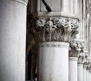 Column Sculptures of Doge's Palace Stock Photos
