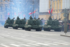 Column of self-propelled artillery installations `Msta-S` on Dvortsovy proezd. Fragment of the  Parade in honor of the Victory Day Stock Photos