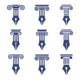 Column set. Set antique columns. Can be used as logo for law firm, architectural, historical or educational concepts. Capital I letter logo in a ancient column Stock Photography