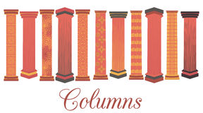 Column set. Doric, Roman style. The set of columns with a pattern. Vector. Royalty Free Stock Images