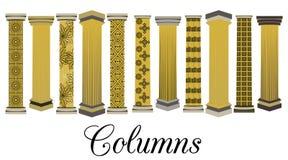 Column set. Doric, Roman style. Vector illustration. Stock Photography
