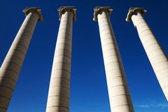 Column in the square of Spain in Barcelona, Spain stock image