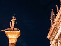 Column of St. Theodore, under the stars. Night view of Piazza San Marco, Venice, Italy Royalty Free Stock Photos