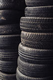 Column stack of old used car tires Royalty Free Stock Photography