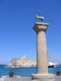 Column statue of a deer. At the Mandraki harbor of Rhodes town Stock Photography