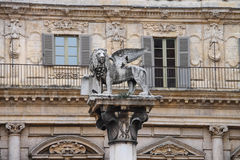Column with the statue of a lion on Piazza delle Erbe. Verona Stock Images