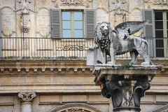 Column with the statue of a lion on Piazza delle Erbe. Verona Royalty Free Stock Photo