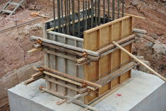Column stump formwork made from timber and plywood Stock Photography
