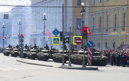 A column of T-90 tanks on parade in honor of the 70th anniversary of Victory in the great Patriotic war. Saint Petersburg Royalty Free Stock Image