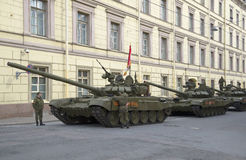 A column of tanks T-90, Millionnaya street. Preparing for the rehearsal in honor of Victory Day in St. Petersburg Royalty Free Stock Photo
