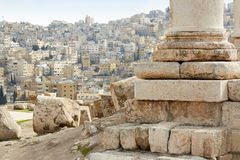 Column of temple in Amman with city view Royalty Free Stock Photography