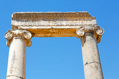 Column in   temple ephesus   antalya    the ruins Royalty Free Stock Photos