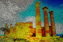 Column temple of goddess Linda on the island of Rhodes , pixel art technology of 3D cubes. 3D illustration. Column temple of the goddess Linda on the island of stock illustration