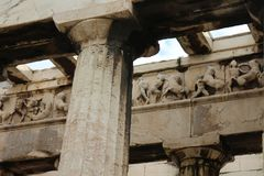 Column of Temple of Hephaestus in Ancient Agora of Athens. Greece Royalty Free Stock Photo