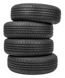 Column of tires Stock Photo