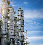 Column tower petrochemica plant with blue sky Royalty Free Stock Image