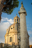 Column of Trajan's forum and church Royalty Free Stock Photography