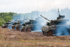 Column Ukrainian main battle tanks Royalty Free Stock Photo