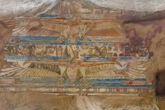 Free Column With Polychromatic Hieroglyphs In The Ruins Of The Temple Of Kom Ombo In The Nile River, Egypt Stock Image - 177815391