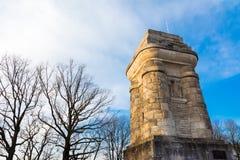 Columna al aire libre Autumn Sun de la torre del monumento de Stuttgart Bismarckturm fotografía de archivo