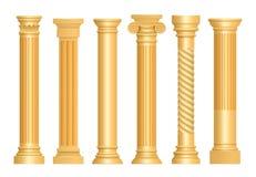 Columna antigua de oro Vector arquitectónico del pedestal de la escultura del arte de los pilares romanos clásicos realista stock de ilustración