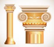 Columna de Grecia del oro Vector Imagenes de archivo
