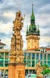 Columna de la trinidad santa en Brno, República Checa imagenes de archivo
