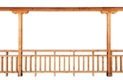 Columna de madera y verja aisladas en el fondo blanco Fotografía de archivo libre de regalías