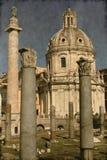 Columna de Trajan y basílica de Ulpia - vintage Fotografía de archivo
